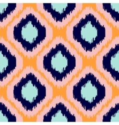 Ikat geometric seamless pattern orange and blue vector