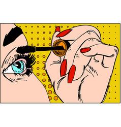 makeup eyeliner make-up applying closeup vector image