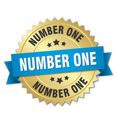 number one 3d gold badge with blue ribbon vector image vector image