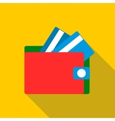 Red wallet with credit cards icon flat style vector image