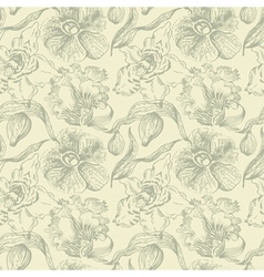 seamless floral pattern with orchid vector image vector image