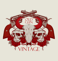 emblem with skull of cow and human roses and guns vector image vector image