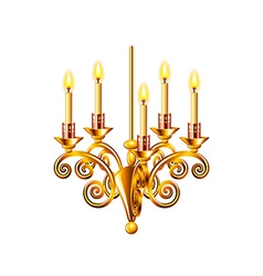Golden chandelier isolated on white vector image vector image