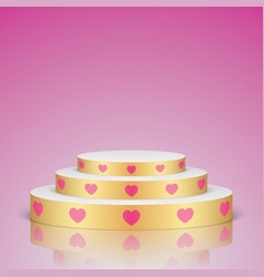 golden romantic scene with pink hearts vector image vector image