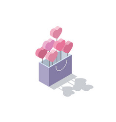 isometric of valentines gift box with hearts vector image