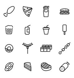 line fastfood icon set vector image