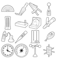 measure tools icons set outline style vector image