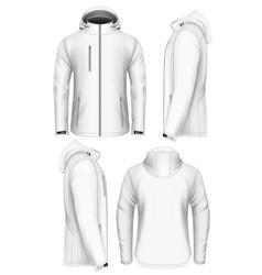 Men hooded softshell jacket design template vector image
