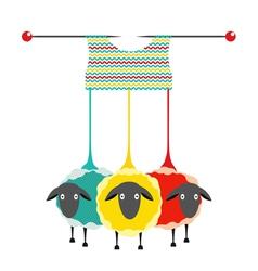 Three Knitting Yarn Sheep vector image vector image