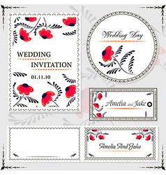 Wedding invitation cards and tag wedding set vector image