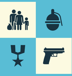 army icons set collection of order fugitive vector image vector image