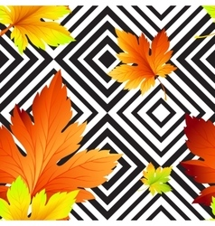 Autumn leaves seamless background geometric vector image vector image