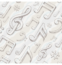 Seamless background with hand drawn treble clef vector image