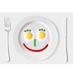 a plate of scrambled eggs and vegetables vector image vector image