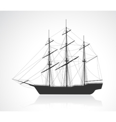 Black old sailing ship silhouette vector image vector image