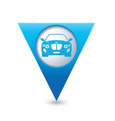 CAR BLUE triangular map pointer vector image