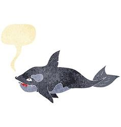 Cartoon killer whale with speech bubble vector