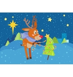 Deer in scarf decorating christmas tree at snow vector