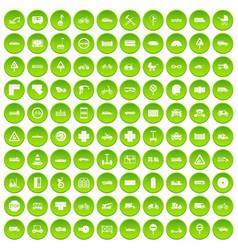 100 road icons set green circle vector