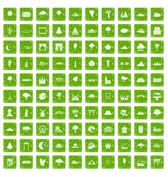 100 view icons set grunge green vector image