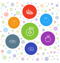 7 apple icons vector