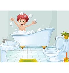 A cute boy taking bath vector
