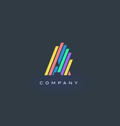 A letter logo with colorful lines design rainbow vector