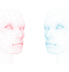 abstract human faces made particles blue and vector image