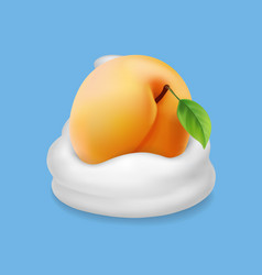Apricot and milk or whipped cream or yogurt vector