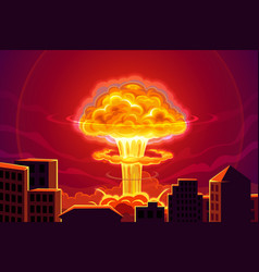 Atomic bomb nuclear explosion in city background vector