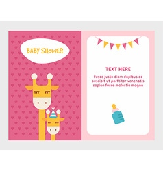 Baby shower invitation card template with giraffee vector