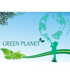 Background-green planet - the picture is in the vector