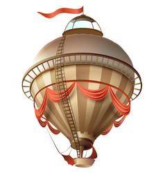 balloon retro blimp ship with flag isolated on vector image