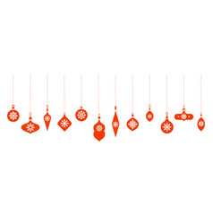balls icons hanging christmas toys silhouettes vector image
