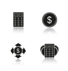 banking and finance drop shadow black icons set vector image
