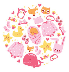 bashower newborn girl vector image