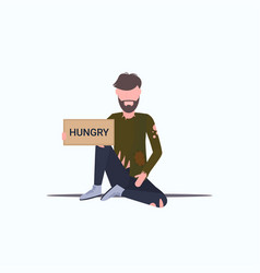 bearded man beggar holding sign board with hungry vector image