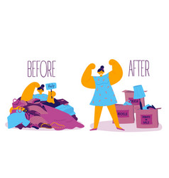 Before and after sorting things concept vector