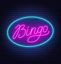 bingo neon sign on brick wall background vector image