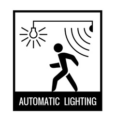 Black and white walking man with motion sensor and vector
