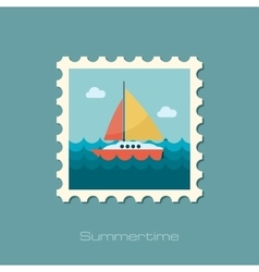 Boat with a Sail flat stamp vector