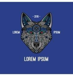 Boho style wolf logo vector image
