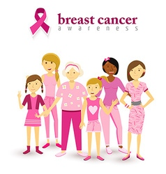 Breast cancer awareness pink women support vector