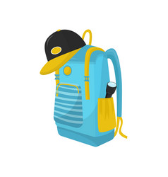 bright blue hiking backpack with flashlight in vector image