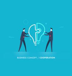 Businessmen connect lamp puzzle vector