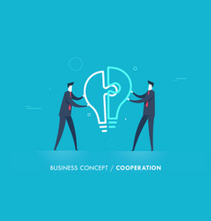 businessmen connect lamp puzzle vector image