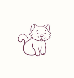 cartoon little kitten in ink contour style vector image