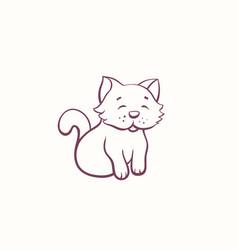Cartoon little kitten in the ink contour style vector