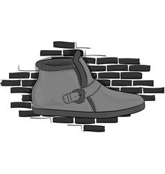 Casual gray shoes on a gray brick wall background vector