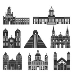 central america american buildings on white vector image